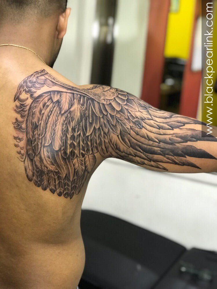 Black and Grey Wings Tattoo on Half Sleeve