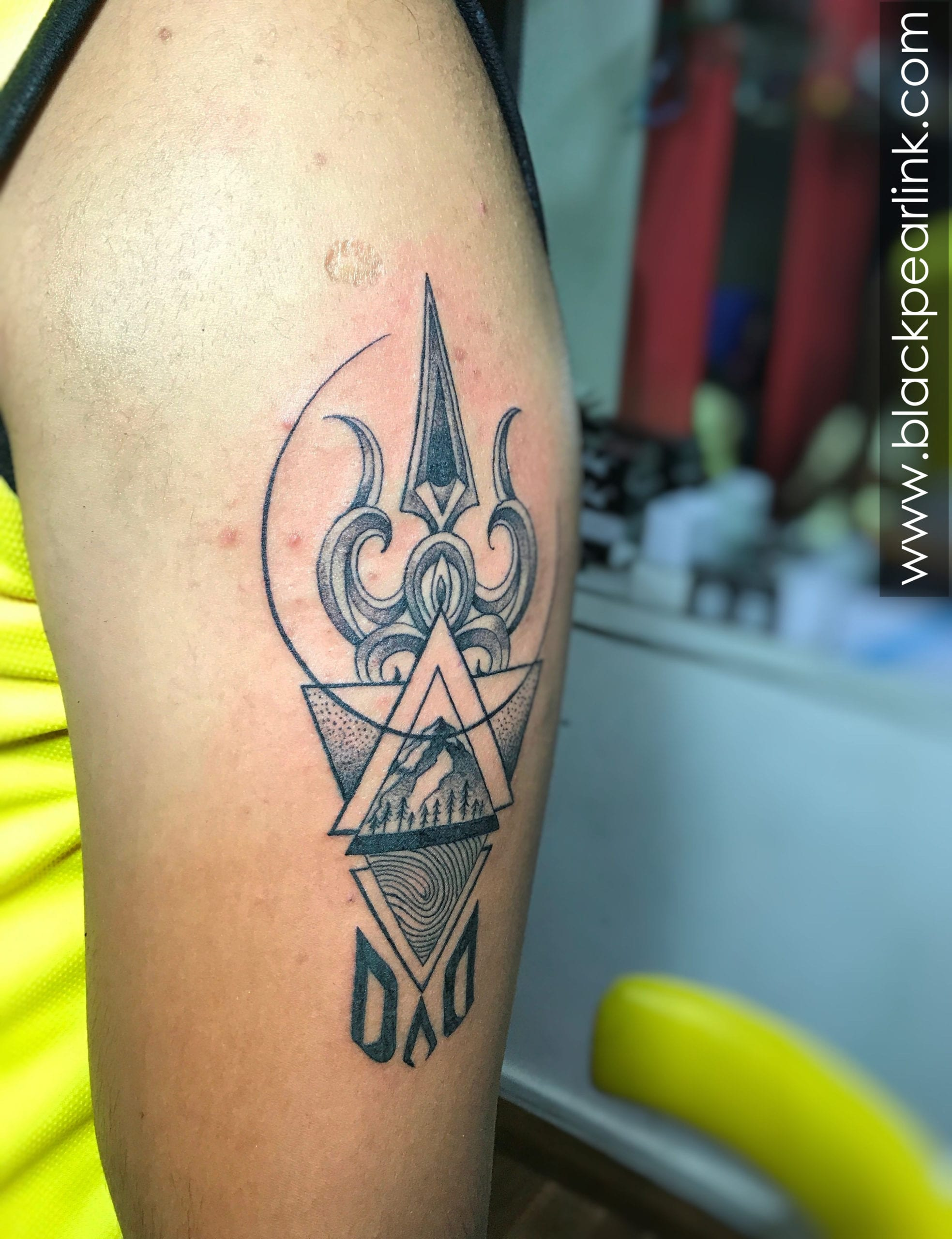Concept Tattoo with Trishul and Mountains