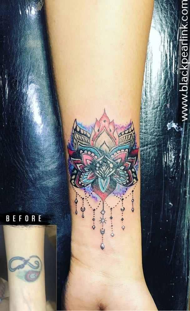 Coverup Tattoo with Multicolor Lotus
