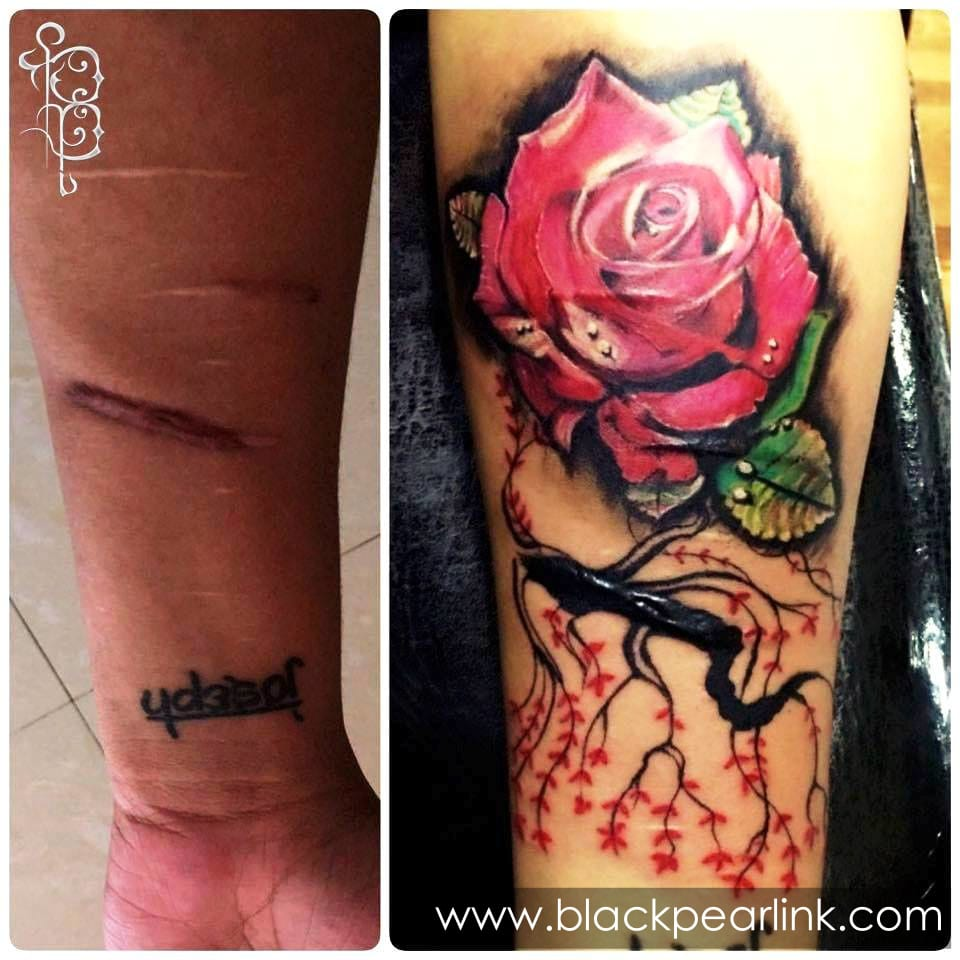 Coverup Tattoo on Dark and Bold Scars