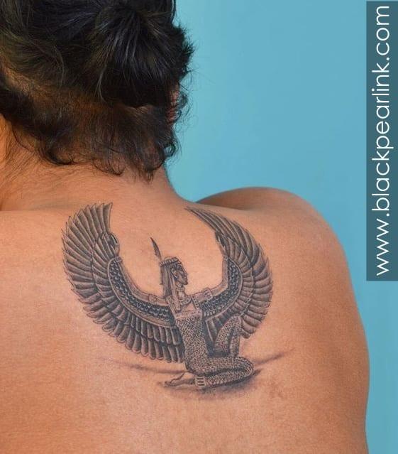 Egyptian Goddess Tattoo on back