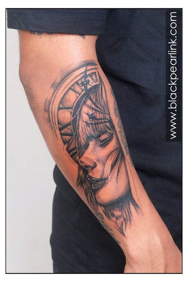 Forearm Sleeve with Lady Face and Greek God