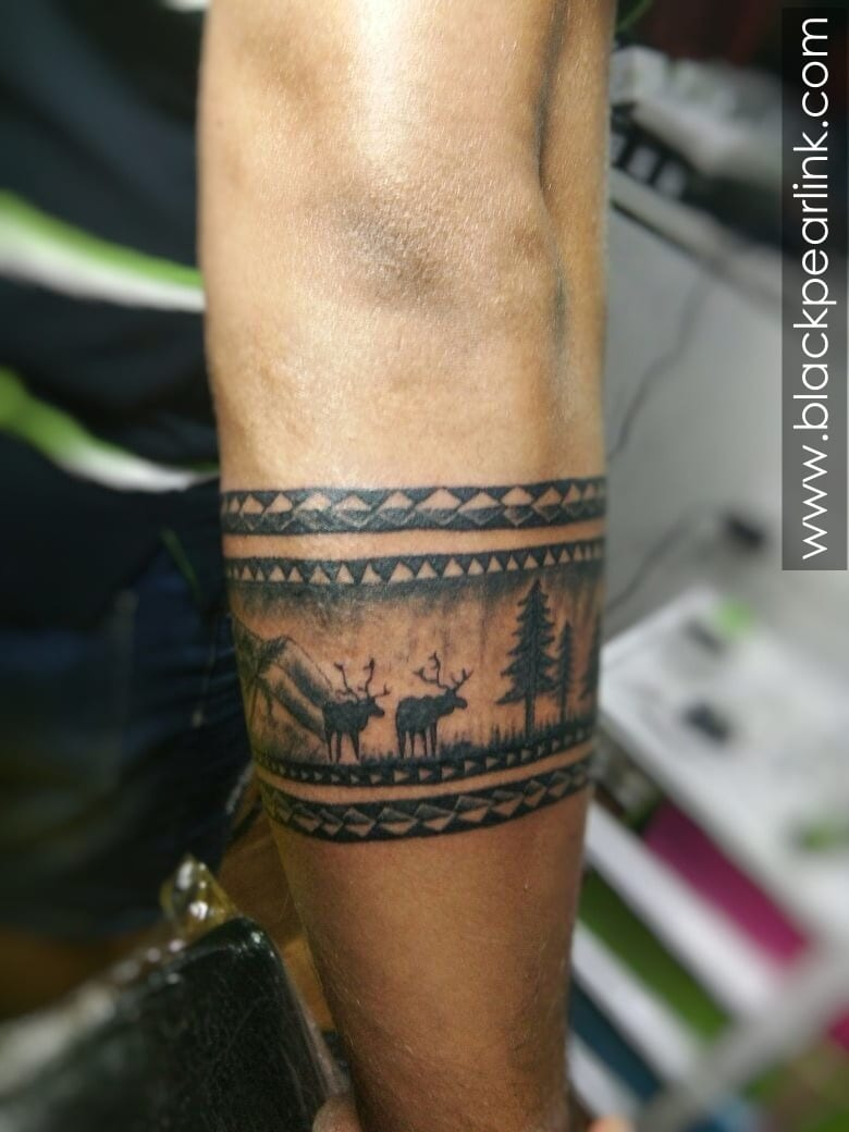 Forest Theme Tattoo Forearm Band