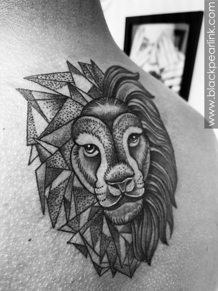 Geometric Lion on Upper Back
