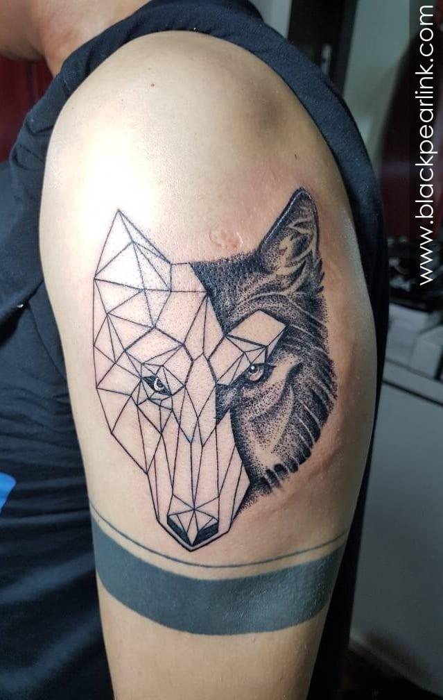 Geometric and Realistic Wolf Tattoo