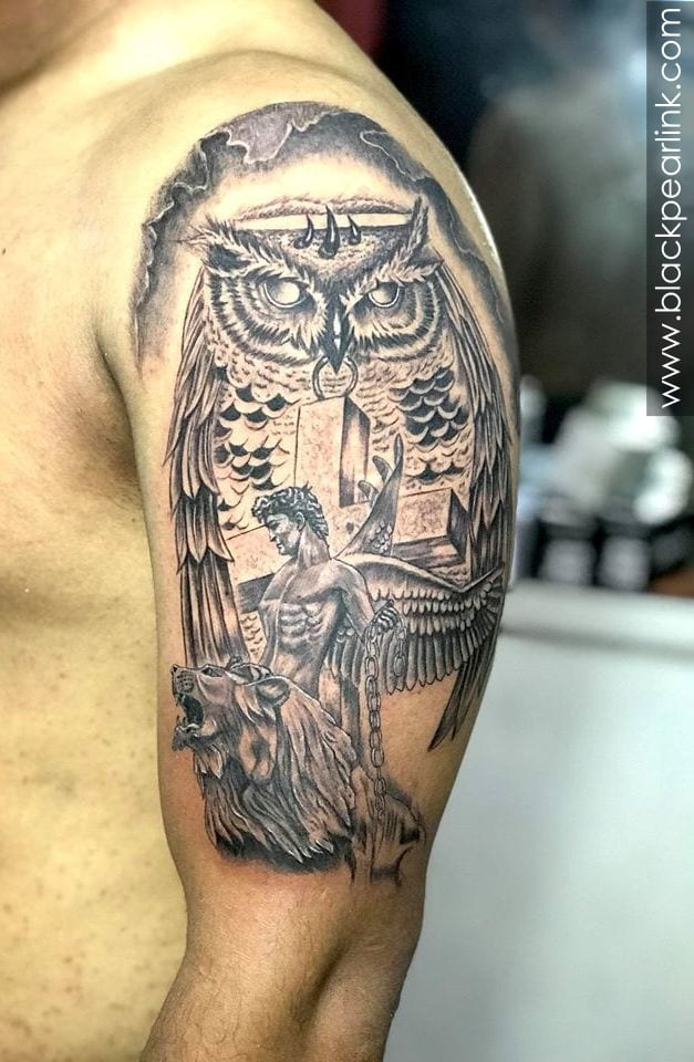 Gothic Half Sleeve Tattoo with Owl and Jesus Riding Horse
