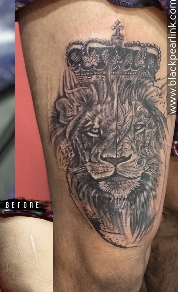 Scar Coverup Artistic Lion Tattoo