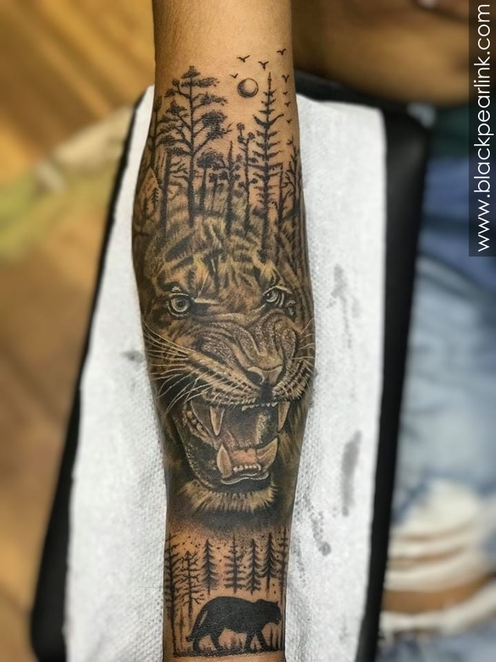 Tiger Tattoo in Black and Grey