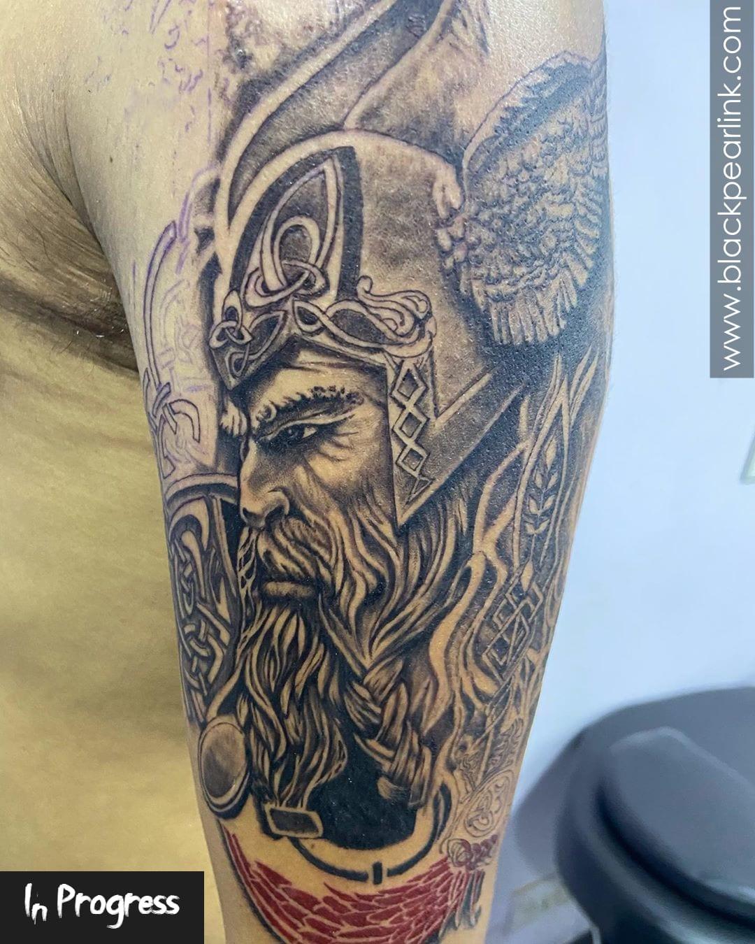 Full Sleeve Viking Warrior Tattoo